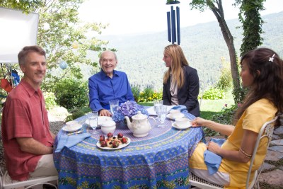Juliet (actress Elisabeth Rohm) interviews Swami Kriyananda in a scene at Crystal Hermitage.