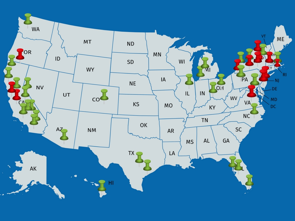Updated map of theaters